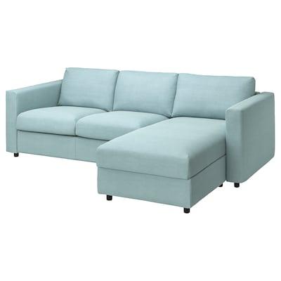 VIMLE Sofá 3 plazas con chaiselongue, Saxemara azul claro