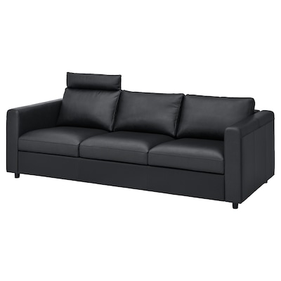 VIMLE Sofá de 3 plazas, con reposacabezas/Grann/Bomstad negro