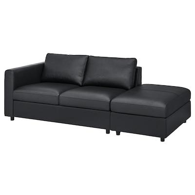 VIMLE Sofá de 3 plazas, +extremo abierto/Grann/Bomstad negro