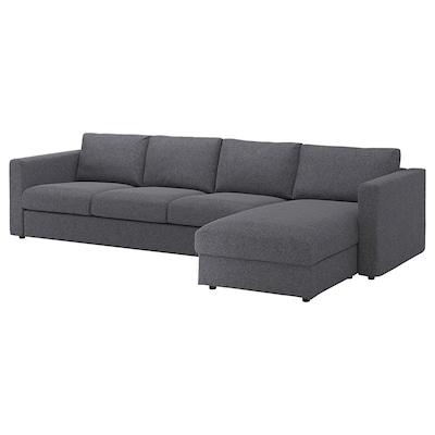 VIMLE Sofá 4 plazas, +chaiselongue/Gunnared gris
