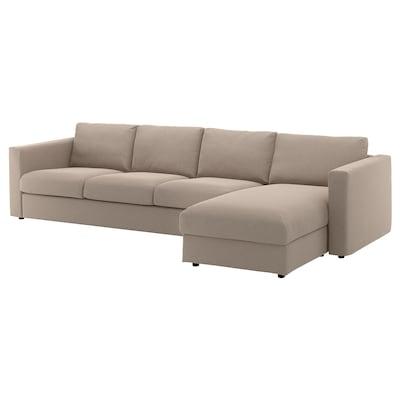 VIMLE Sofá 4 plazas, +chaiselongue/Tallmyra beige