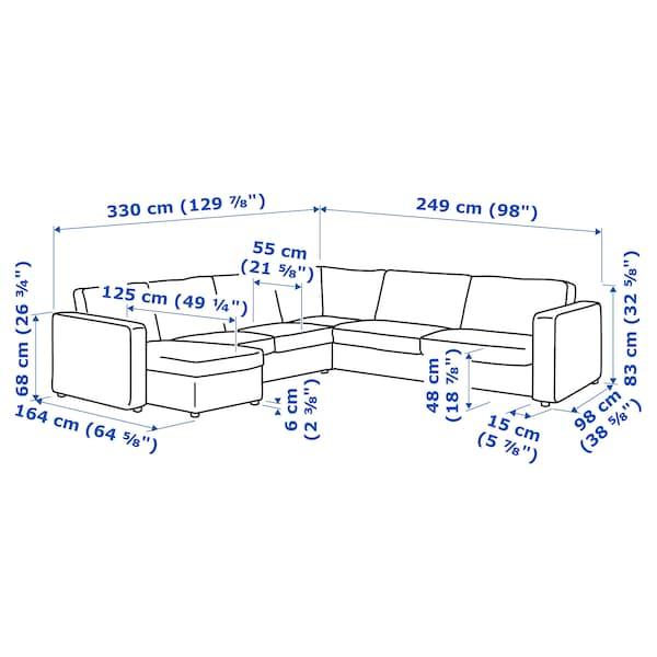 VIMLE Sofá 5 plazas esquina, +chaiselongue/Hallarp gris