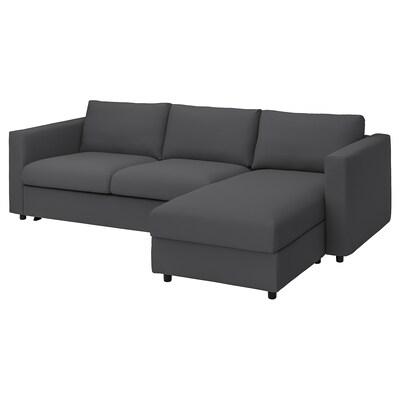 VIMLE Sofá cama 3+chaiselongue, Hallarp gris