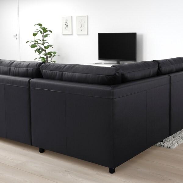VIMLE Sofá cama esquina 4, +extremo abierto/Grann/Bomstad negro