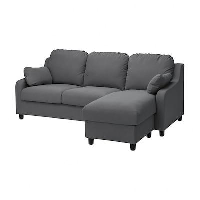 VINLIDEN Sofá 3 plazas con chaiselongue, Hakebo gris oscuro