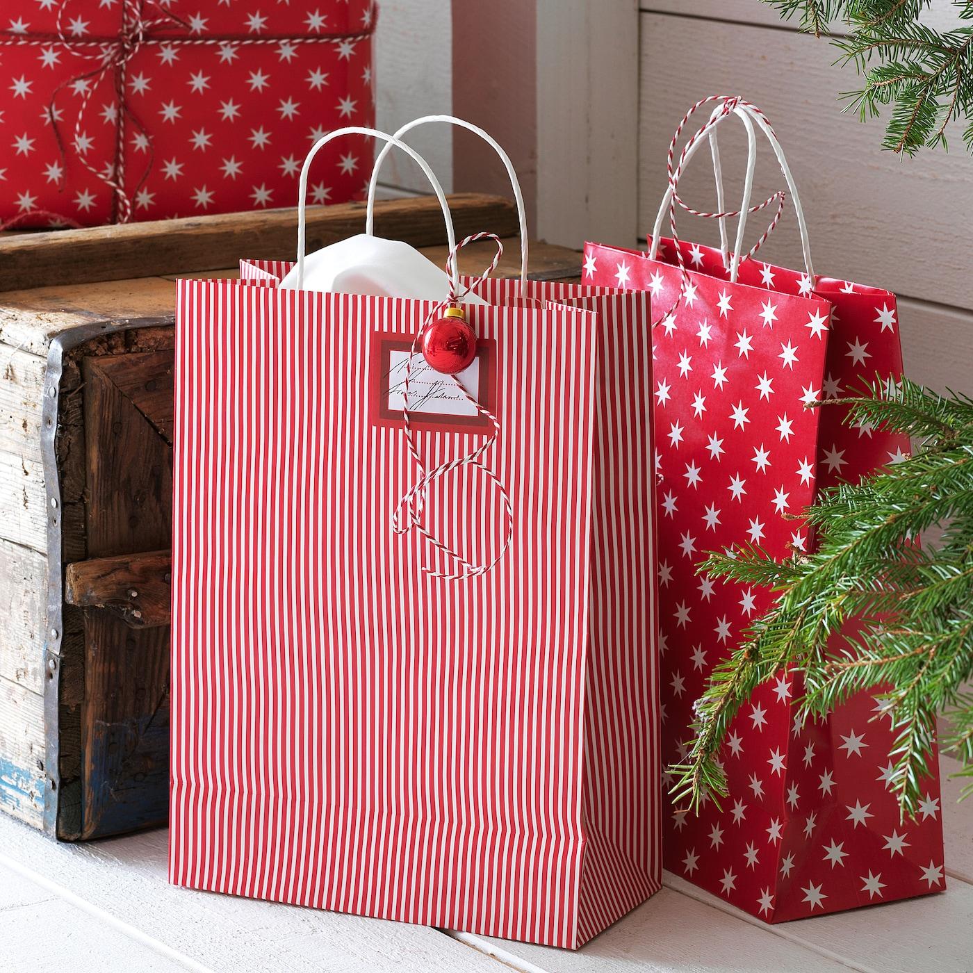 VINTER 2020 Bolsa regalo Navidad motivo estrellamotivo a rayas rojoblanco 26x35 cm