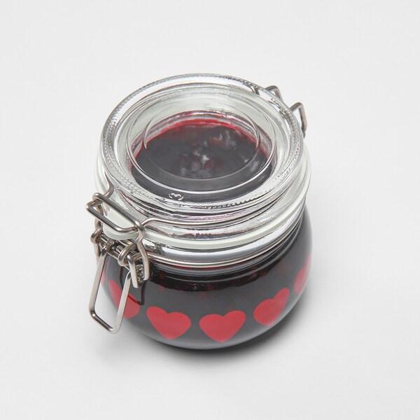 VINTER 2020 Bote con tapa, vidrio incoloro/motivo corazón rojo, 13 cl