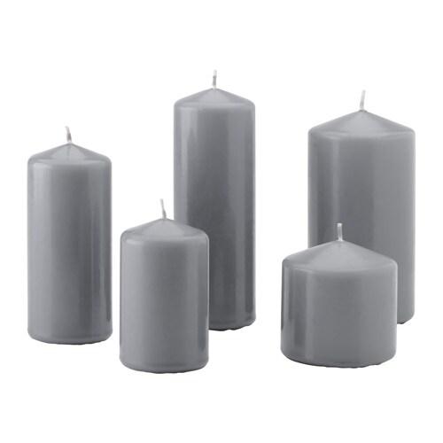 VINTER Vela gruesa sin perfume, jgo 5, gris - Últimas unidades en IKEA L'Hospitalet