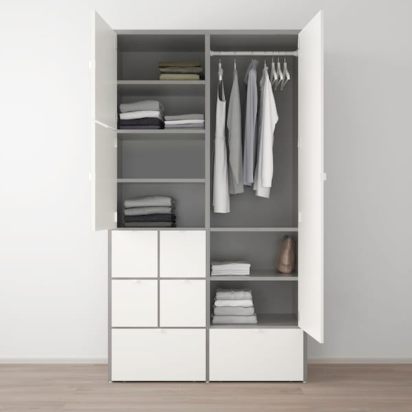 VISTHUS armario gris/blanco 122.0 cm 59.0 cm 216.0 cm
