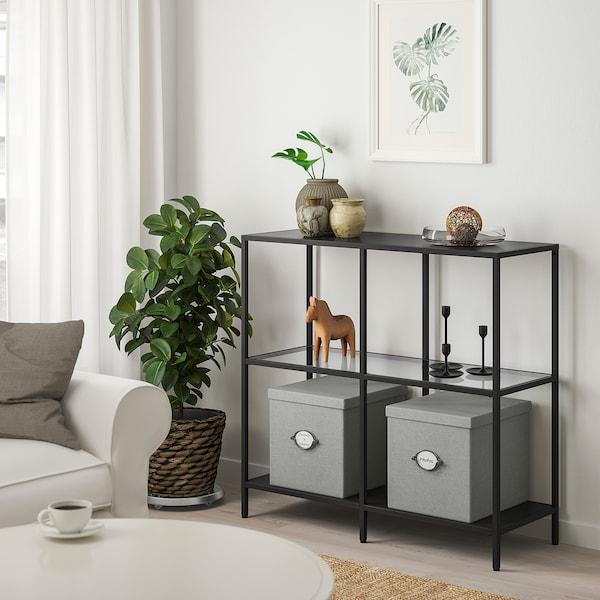 VITTSJÖ Estantería, negro-marrón/vidrio, 100x93 cm