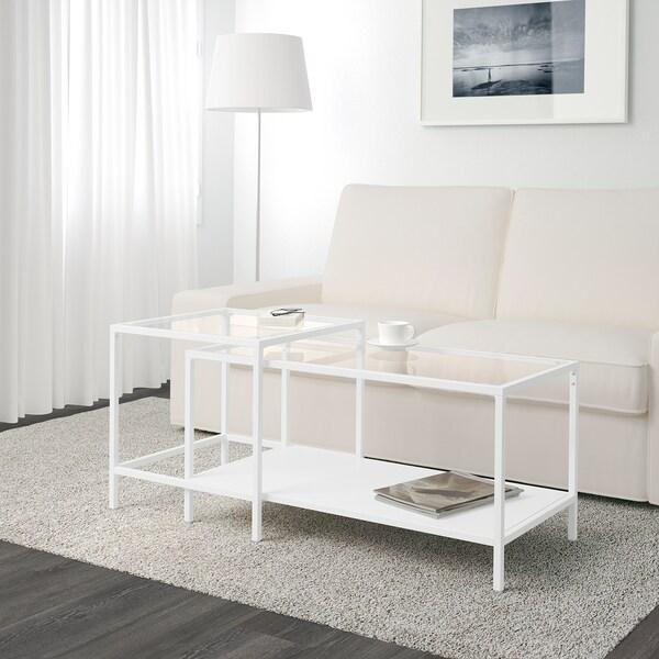 VITTSJÖ Mesa nido, j2, blanco/vidrio, 90x50 cm