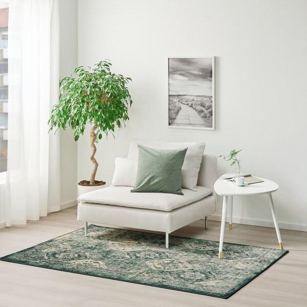 VONSBÄK Alfombra, pelo corto, verde, 133x195 cm