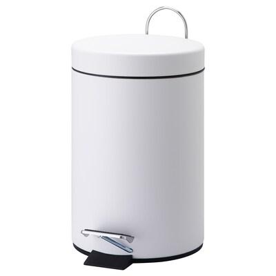 VORGOD Cubo de basura pedal, blanco, 3 l