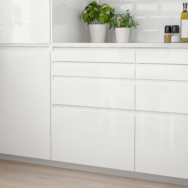 VOXTORP Frente de cajón, alto brillo blanco, 60x10 cm