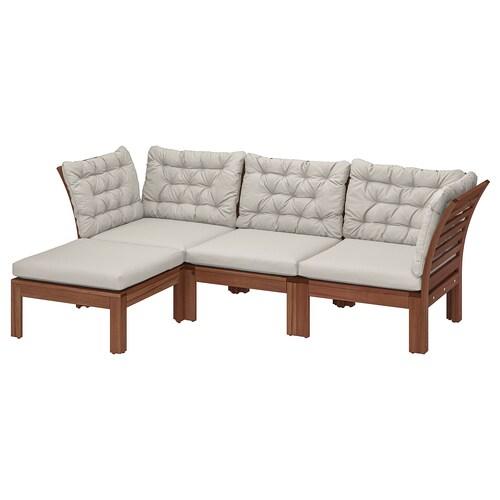 ÄPPLARÖ 3 eserl kanpo modulu-sofa +oin-euskarria tindu marroia/Kuddarna grisa
