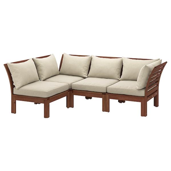 ÄPPLARÖ 3 eserl kanpo izkinako modulu-sofa, tindu marroia/Hållö beixa, 143/223x80x78 cm