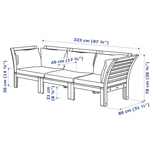 ÄPPLARÖ 3 eserl kanpo modulu-sofa, tindu marroia/Hållö beixa, 223x80x78 cm