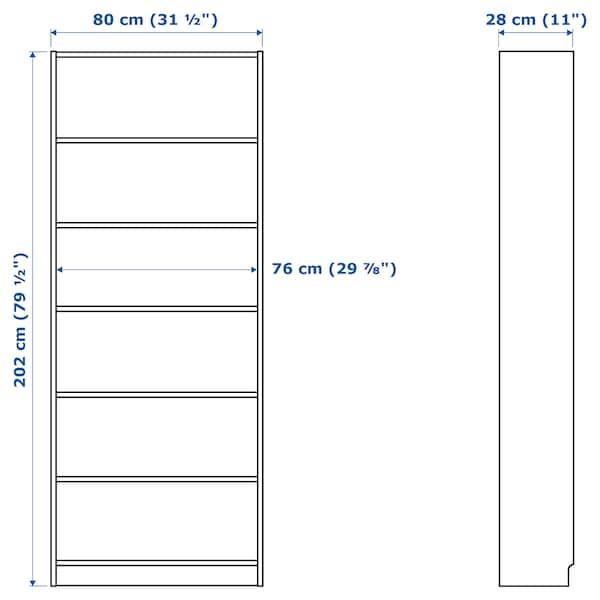 BILLY / OXBERG Atedun liburutegia, tindu zuriko haritz-xafla, 80x30x202 cm