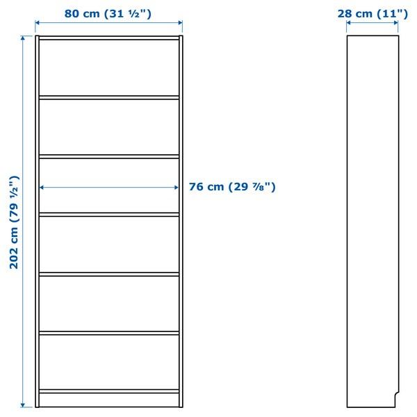 BILLY / OXBERG Atedun liburutegia, zuria, 80x30x202 cm