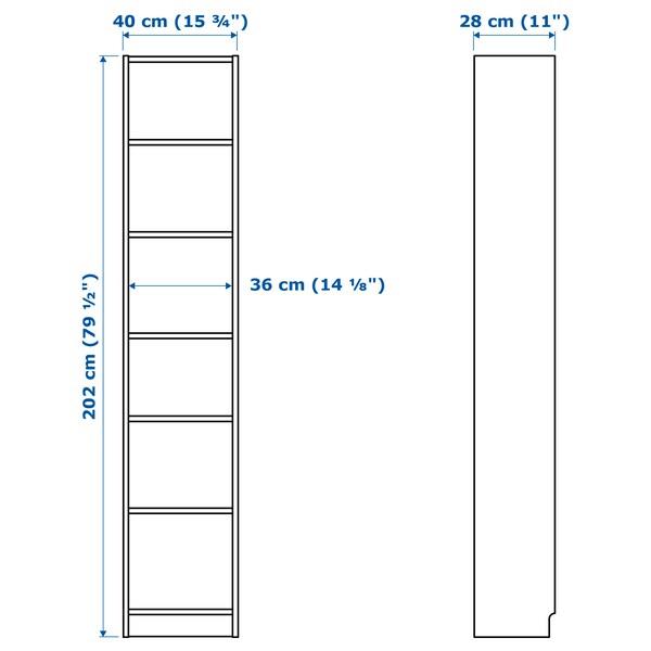 BILLY / OXBERG Liburutegia +paneldun atea/beir, zuria/beira, 40x30x202 cm