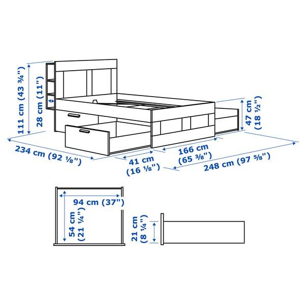 BRIMNES Ohe-egitura+biltokia+oheburua, zuria/Lönset, 160x200 cm