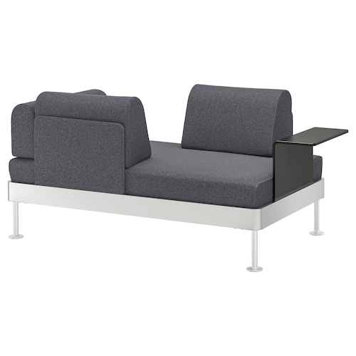 DELAKTIG sofa 2 mahai osagarriarekin Gunnared grisa 79 cm 20 cm