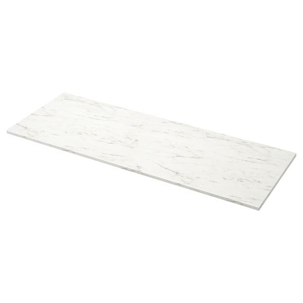 EKBACKEN Altzari-gainekoa, zuria marmol-efektua/ijeztua, 186x2.8 cm