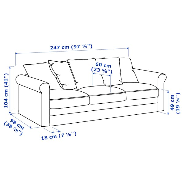 GRÖNLID 3 eserlekuko sofa Ljungen grisa 104 cm 7 cm 18 cm