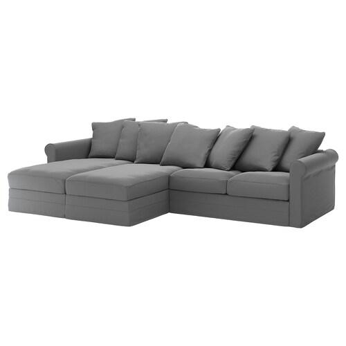 GRÖNLID 4 eserlekuko sofa chaiselongue-ekin/Ljungen grisa 104 cm 164 cm 126 cm 7 cm 18 cm