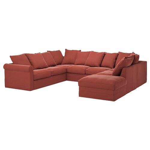 GRÖNLID U formako 6 eserlekuko sofa +ertz irekia/Ljungen gorri argia 104 cm 7 cm 18 cm