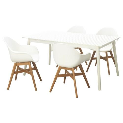 IKEA HATTHOLMEN / FANBYN Kanporako mahaia+beso 4 aulki