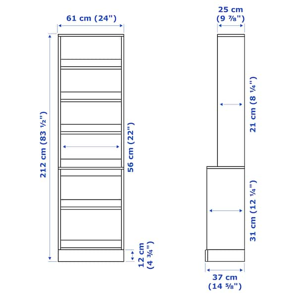 HAVSTA Zokalodun apalategia, zuria, 61x37x212 cm