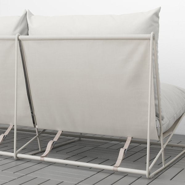 HAVSTEN Barr/kanp 2 eserlekuko sofa, beso-euskarririk gabe/beixa, 164x94x90 cm