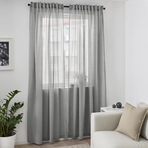HILJA Gortina, parea, grisa, 145x300 cm