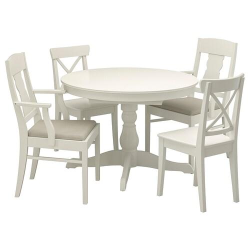 IKEA INGATORP / INGOLF Mahaia 4 aulkirekin
