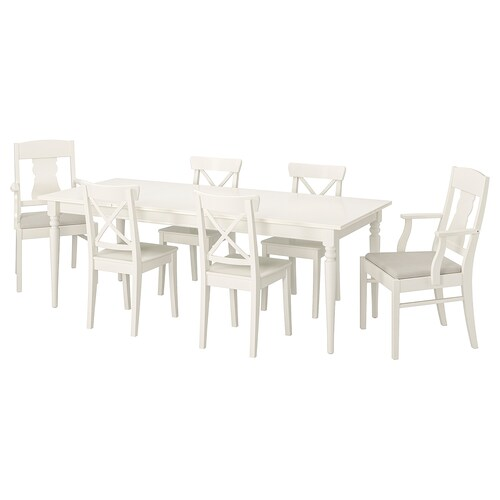 IKEA INGATORP / INGOLF Mahaia eta 6 aulki