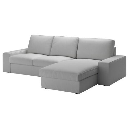 KIVIK 3 eserlekuko sofa +chaiselongue-ak/Orrsta argiguneargigrisa