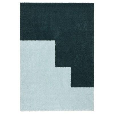 KONGSTRUP Alfonbra, ile luzea, argiguneargiurdina/berdea, 133x195 cm