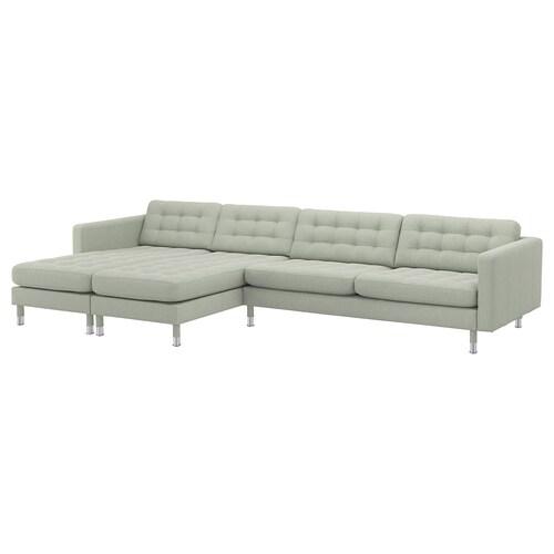 LANDSKRONA 5 eserlekuko sofa chaiselongue-ekin/Gunnared berde argia/metal-kolorea