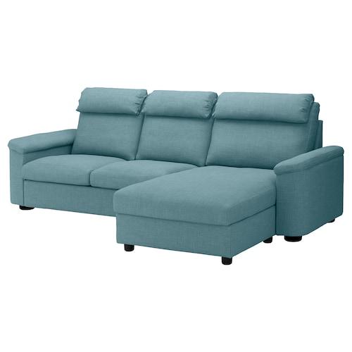 LIDHULT 3 eserlekuko ohe-sofa +chaiselongue-ak/Gassebol urdin/grisa 102 cm 76 cm 164 cm 120 cm 7 cm