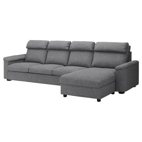 LIDHULT 4 eserlekuko sofa +chaiselongue-ak/Lejde gris/beltza 102 cm 74 cm 164 cm 128 cm 7 cm