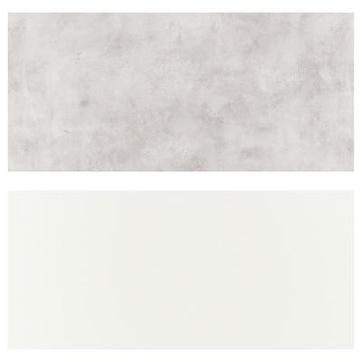 LYSEKIL Hormako panela, bi aldeak zuria/argiguneargigrisa zementu-efektua, 119.6x55 cm