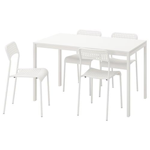 IKEA MELLTORP / ADDE Mahaia 4 aulkirekin