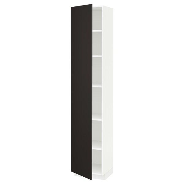 METOD Armairu altua apalekin, zuria/Kungsbacka antrazita, 40x37x200 cm