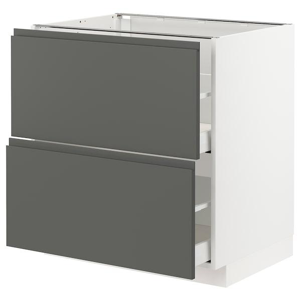 METOD / MAXIMERA 2 tiraderadun sukaldeko armairu, zuria/Voxtorp gris iluna, 80x60 cm