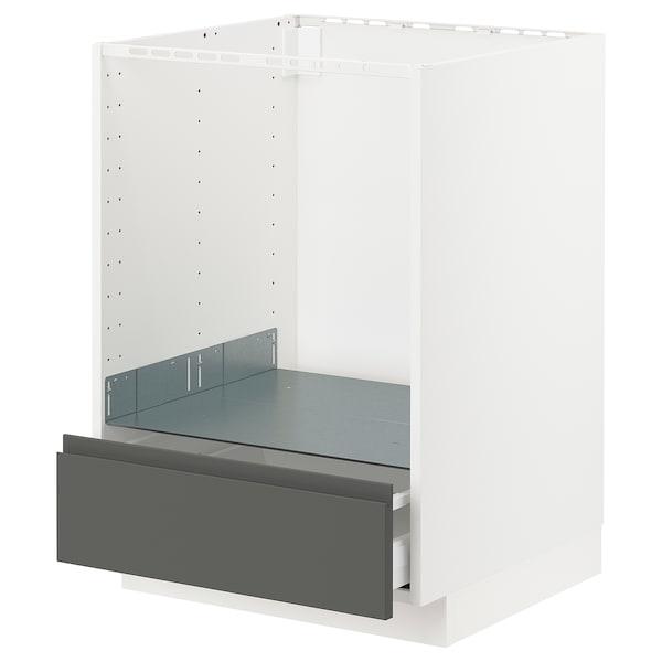 METOD / MAXIMERA Tiraderadun laberako armairu baxua, zuria/Voxtorp gris iluna, 60x60 cm