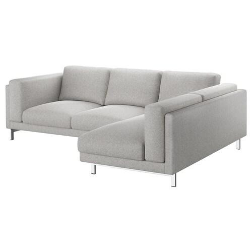 NOCKEBY 3 eserlekuko sofa eskuineko chaiselongue-rekin/Tallmyra zuria/beltza/kromatua 15 cm