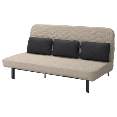 NYHAMN Ohe-sofa 3 kuxinekin, malgukizko lastairarekin/Hyllie beixa
