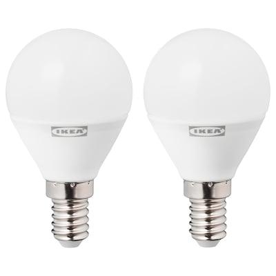 RYET LED E14 bonbilla 470 lumen, globo itxura opalo zuria