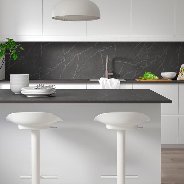 SKARARP Neurrira egindako sukalde-gainekoa, beltza/marroia matea/marmol-efektua zeramika, 1 m²x2.0 cm